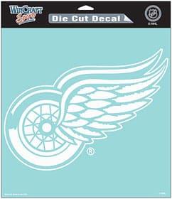 """Detroit Red Wings WHITE Die-Cut 8"""" x 8"""" Decal"""
