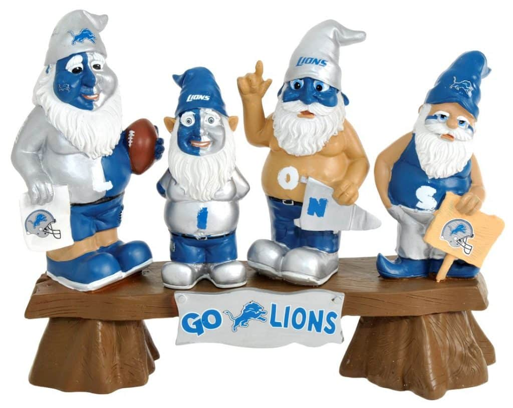 05afbbcec1f Detroit Lions NFL Fans On Bench Gnome - Detroit Game Gear