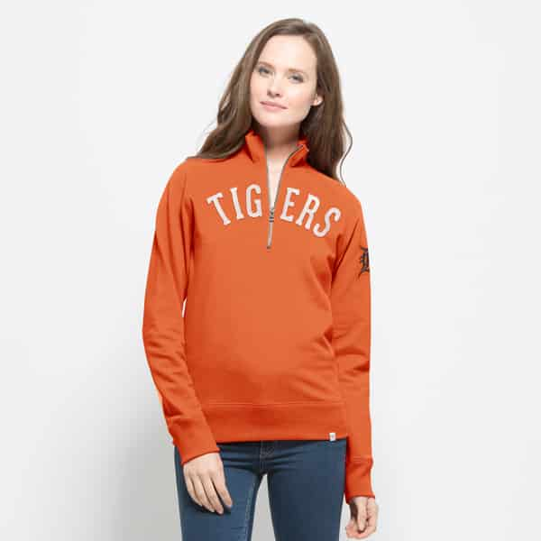 Detroit Tigers 47 Brand Women's Orange Cross Check 1/4 Zip Pullover