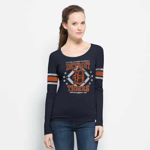 Detroit Tigers Womens 47 Brand Home Run Scoop Long Sleeve T-Shirt