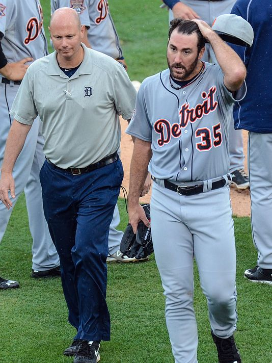 Justin Verlander (cramp) leaves Detroit Tigers game, but says he's fine