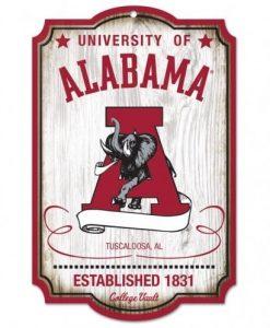 Alabama Crimson Tide Wood Sign College Vault
