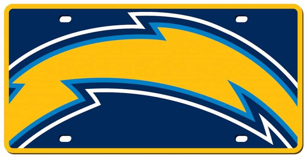 San Diego Chargers License Plate Acrylic Mega Style