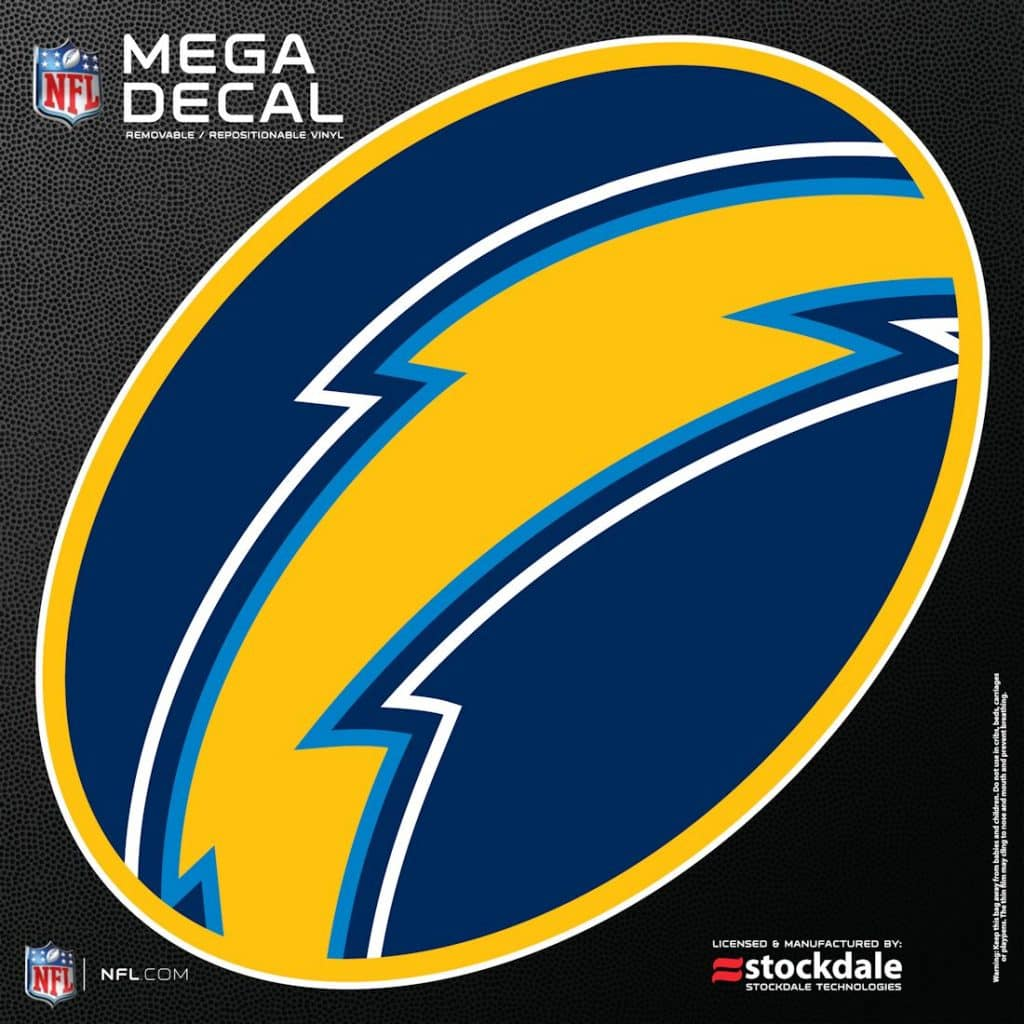 """San Diego Chargers Decal: San Diego Chargers 12""""x12"""" Mega Decal"""