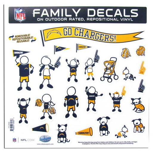 """San Diego Chargers Car Decals: San Diego Chargers 11""""x11"""" Family Car Decal Sheet"""