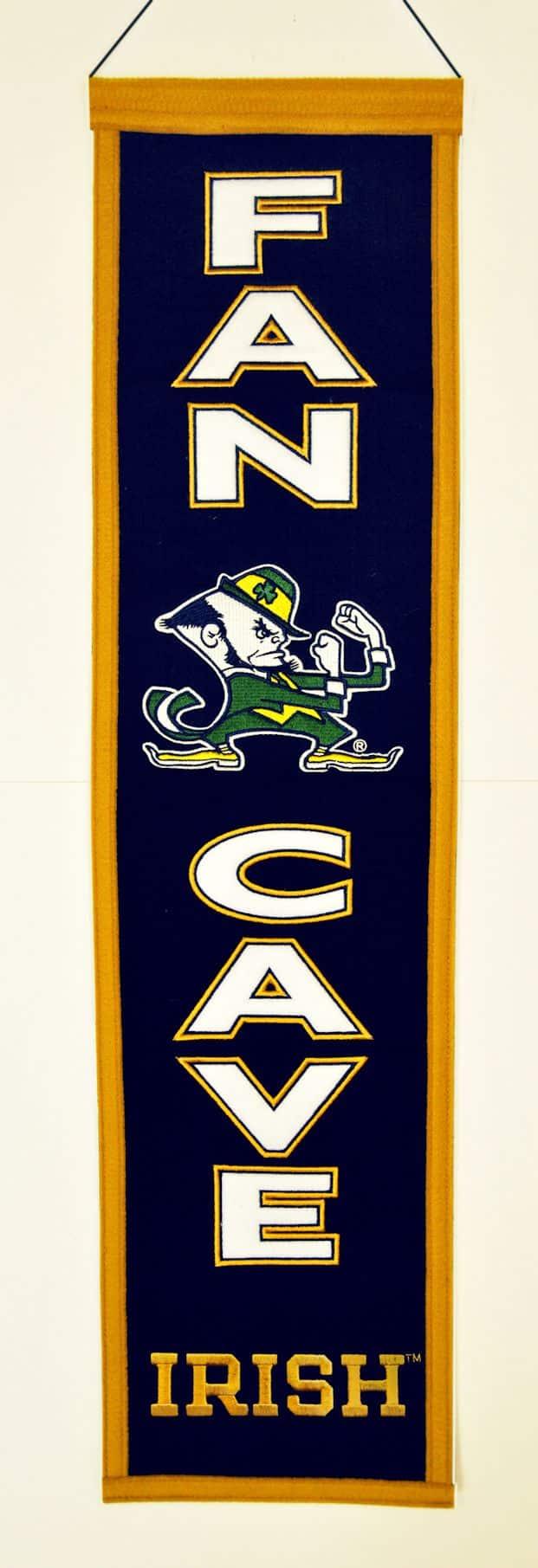 Notre Dame Man Cave Ideas : Notre dame fighting irish wool man cave banner detroit