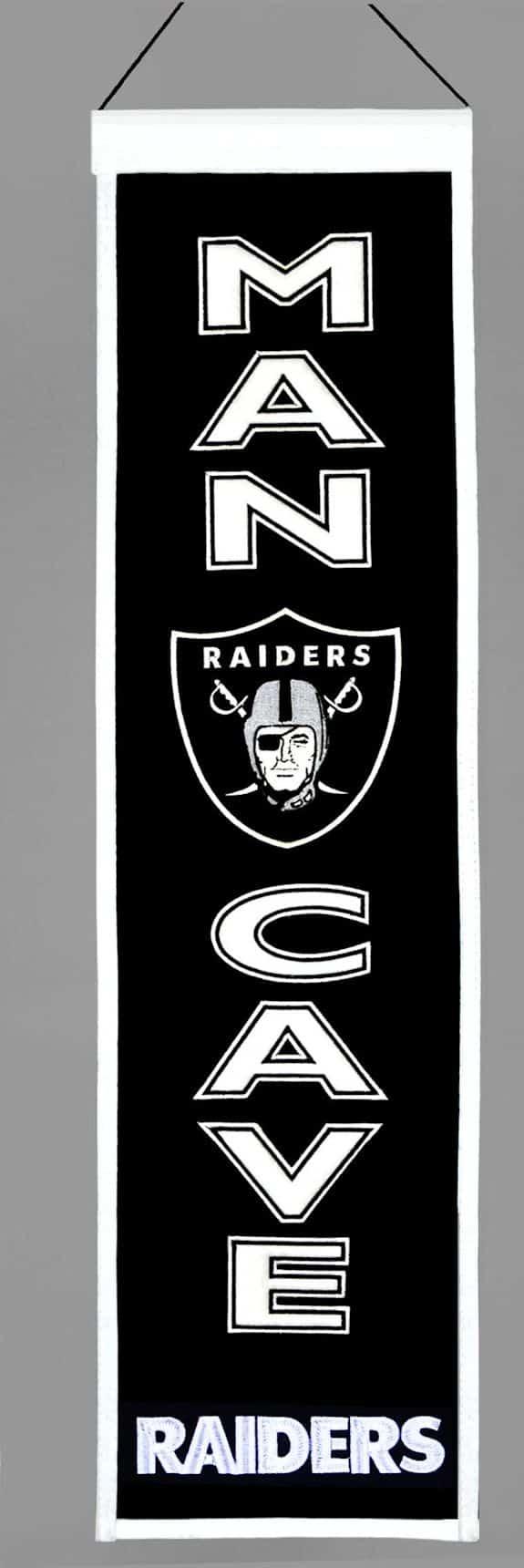 Man Cave Oakland : Oakland raiders wool man cave banner detroit game gear