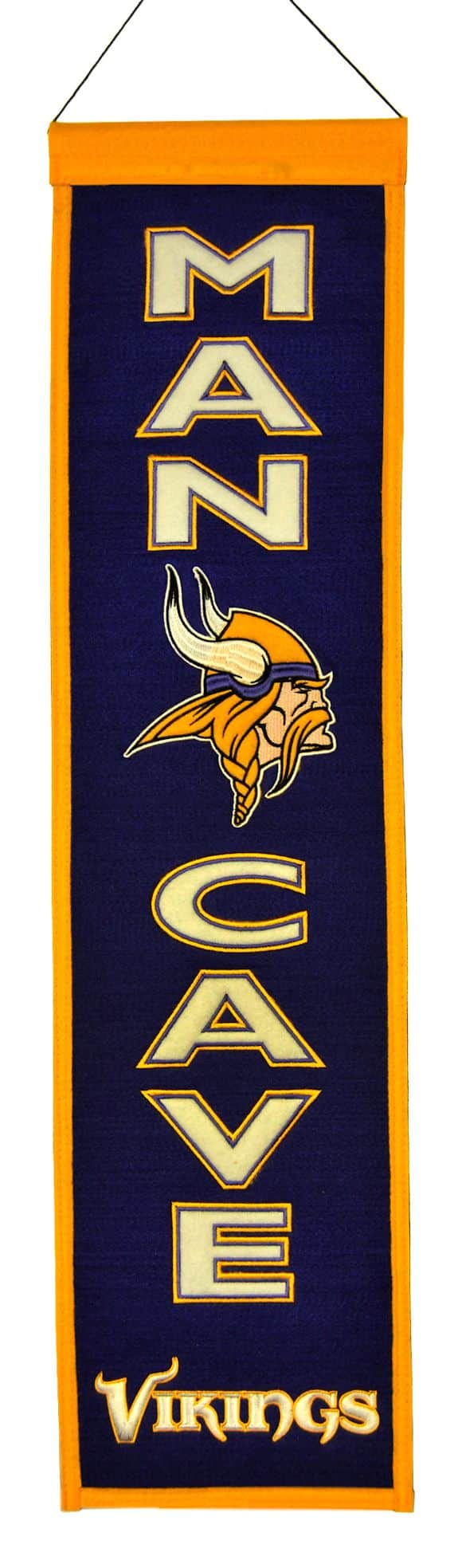 Vikings Man Cave Ideas : Minnesota vikings wool man cave banner detroit game gear