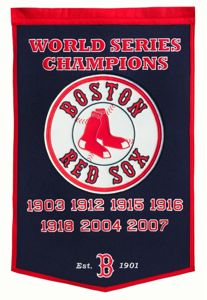boston red sox 24 quot x36 quot wool dynasty banner pre 2012 detroit game gear