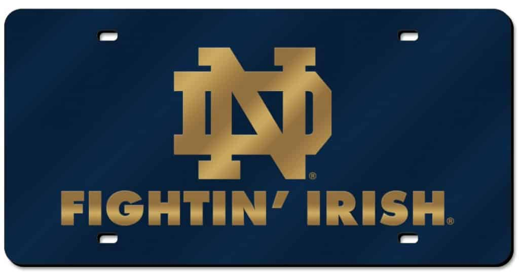 Notre Dame Fighting Irish Laser Cut Navy License Plate