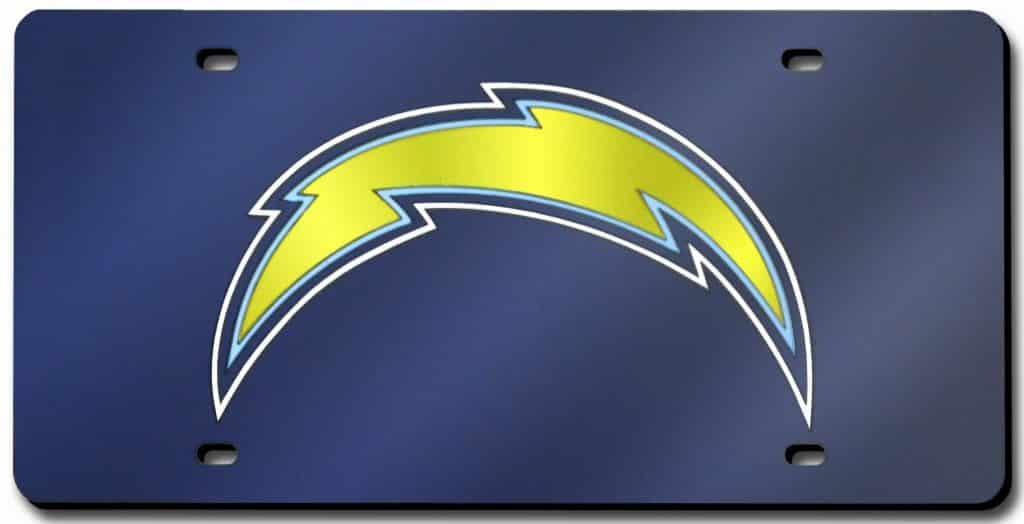 San Diego Chargers Laser Cut Silver License Plate New