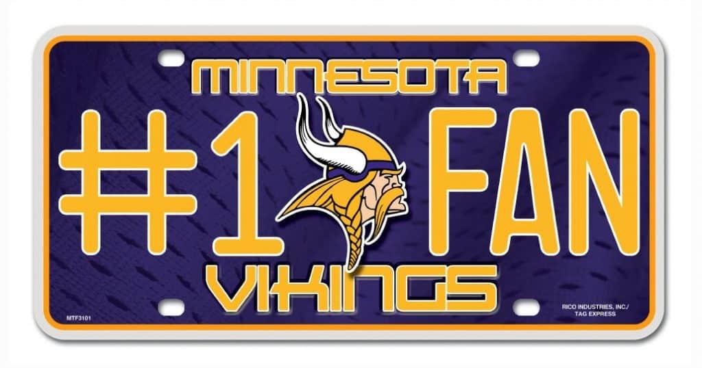 Minnesota Vikings License Plate 1 Fan Detroit Game Gear