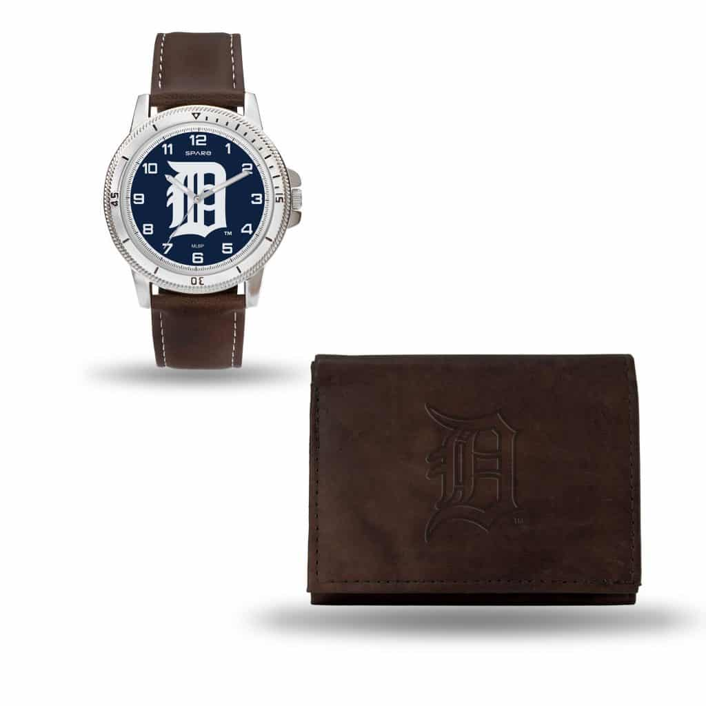 Detroit Tigers Brown Watch/Wallet Gift Set