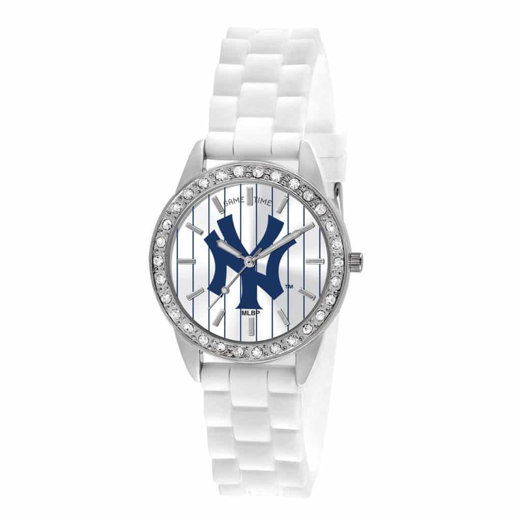 New York Yankees Pinstripe Ladies Quartz Analog Frost Watch