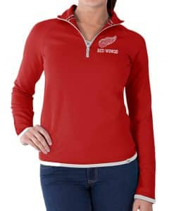 Detroit Red Wings Womens Red Showdown 1/4 Zip Pullover