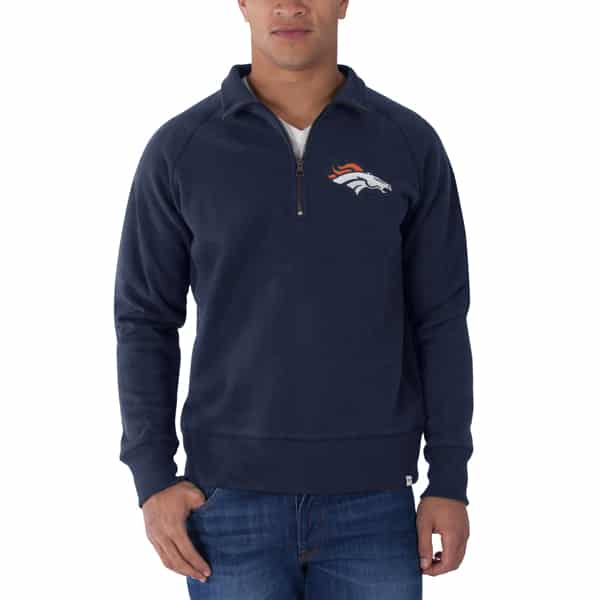 Denver Broncos 47 Brand Cross Check 1/4 Zip Pullover Shirt