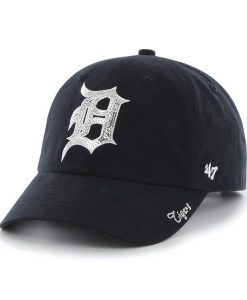 Detroit Tigers Women's 47 Brand Sparkle Navy Clean Up Adjustable Hat