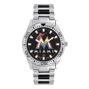 Miami Marlins Mens Quartz Analog Silver Heavy Hitter Watch