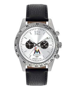 Miami Marlins Mens Quartz Analog Letterman Watch