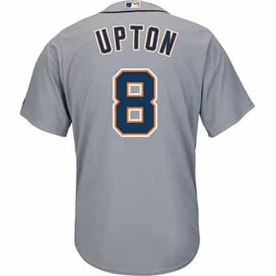 Justin Upton #8 Detroit Tigers Cool Base Replica Road Jersey