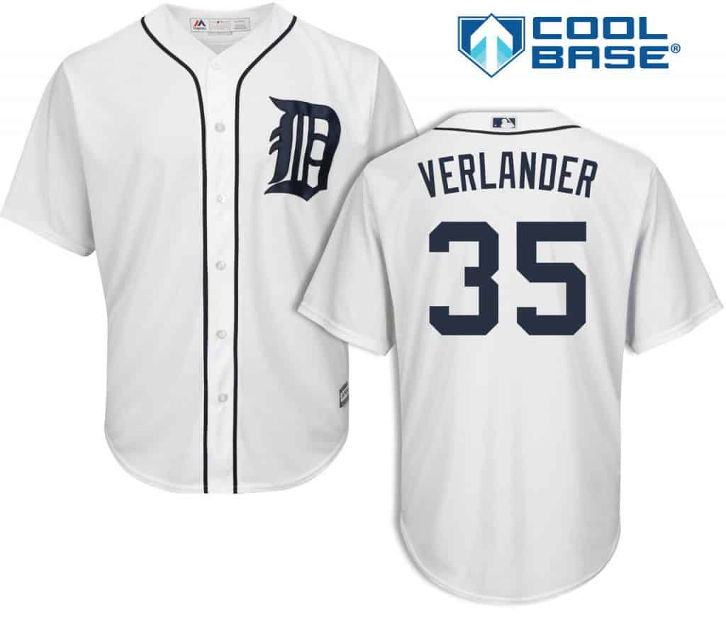 sports shoes 644ad 5f2fb Justin Verlander Detroit Tigers Cool Base Replica Home Jersey