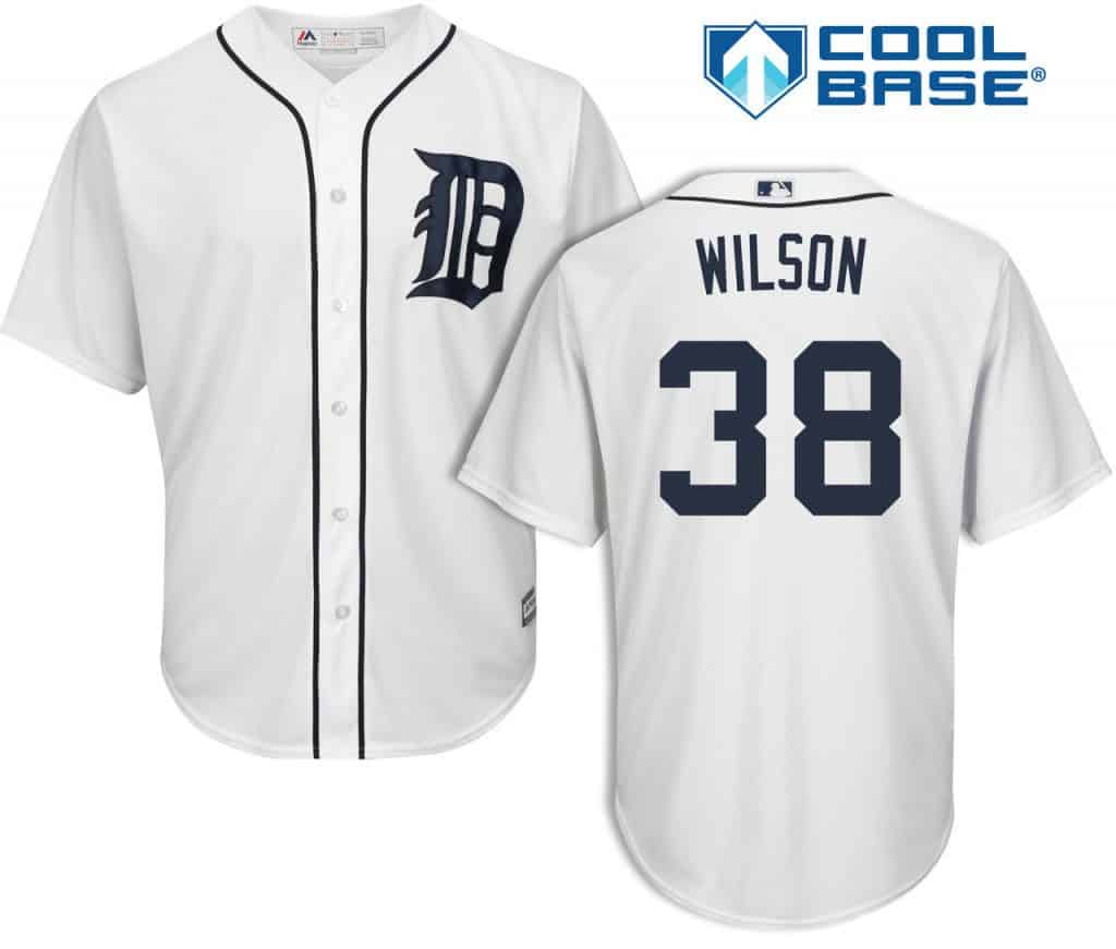 Justin Wilson Detroit Tigers Cool Base Replica Home Jersey