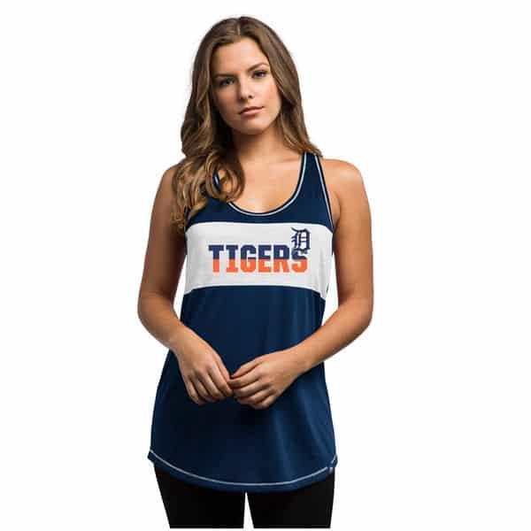 Detroit Tigers Womens Majestic Glitz Tank Top