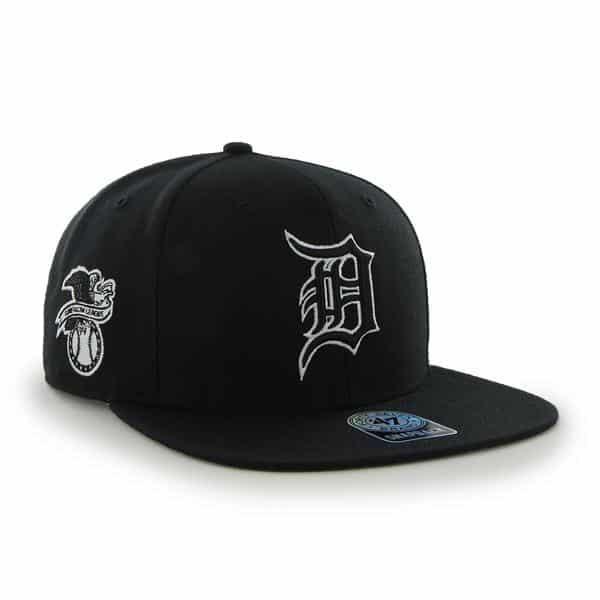 Detroit Tigers 47 Brand Black Sure Shot Snapback Adjustable Hat