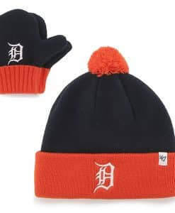 Detroit Tigers INFANT Navy Knit Set Mittens And Hat