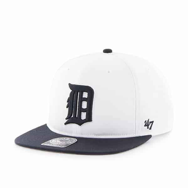 Detroit Tigers White Navy Two Tone Snapback Adjustable Hat