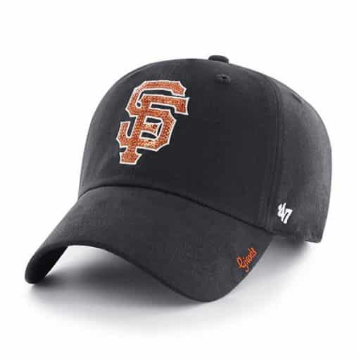San Francisco Giants Women's 47 Brand Sparkle Black Clean Up Adjustable Hat