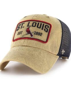 St. Louis Cardinals 47 Brand Khaki Navy Mesh Clean Up Adjustable Hat