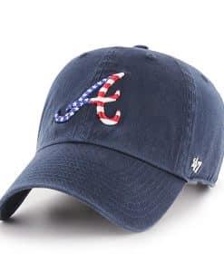 Atlanta Braves Red White & Blue 47 Brand Navy Clean Up Adjustable Hat
