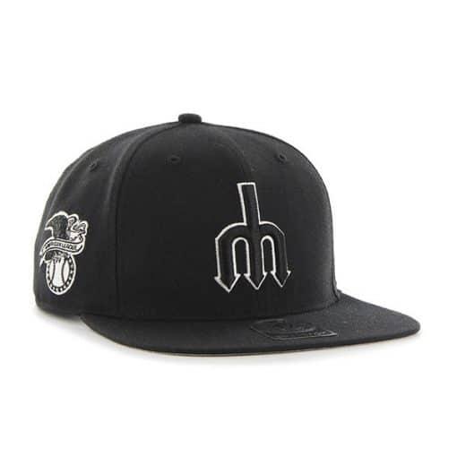 Seattle Mariners 47 Brand Black Sure Shot Black Snapback Hat