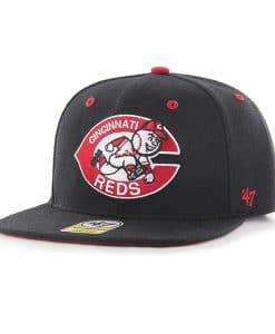 Cincinnati Reds 47 Brand Black Classic Adjustable Hat