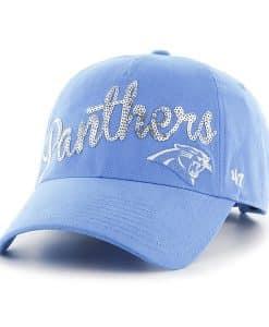 Carolina Panthers Sparkle Women's 47 Brand Glacier Blue Sparkle Clean Up Adjustable Hat