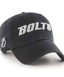 Tampa Bay Lightning 47 Brand Script Black Clean Up Adjustable Hat