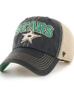 Dallas Stars 47 Brand Tuscaloosa Vintage Black Clean Up Mesh Snapback Hat