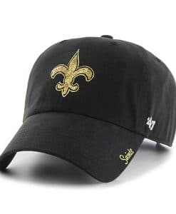 New Orleans Saints Women's 47 Brand Black Sparkle Team Color Clean Up Hat