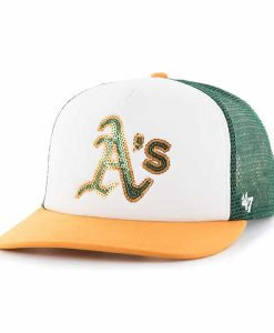 Oakland Athletics Women's 47 Brand Dark Green Glimmer Captain Adjustable Hat