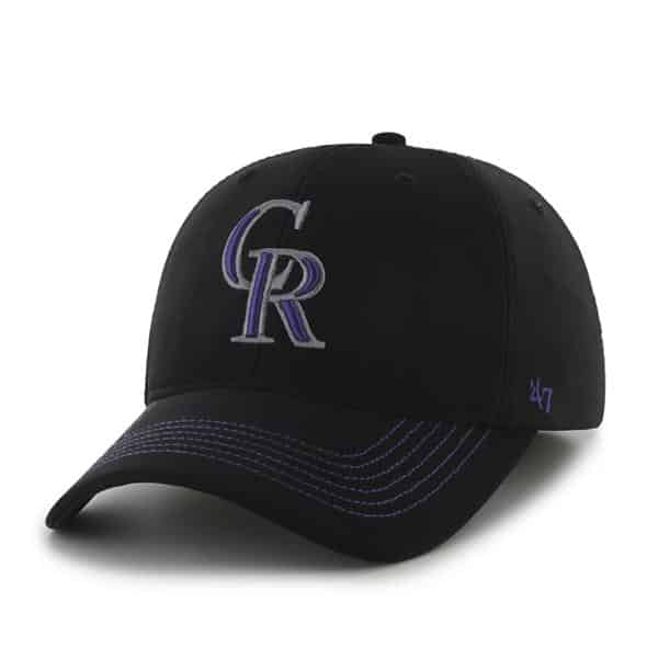 Colorado Rockies Game Time Closer Black 47 Brand Stretch Fit Hat