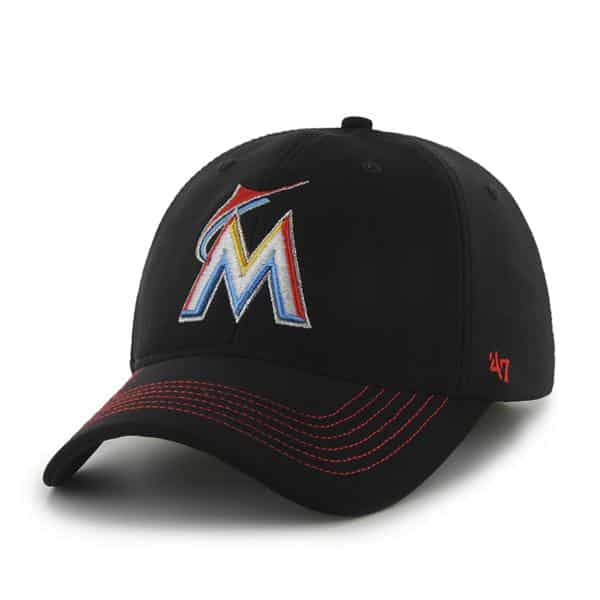 Miami Marlins Game Time Closer Black 47 Brand Stretch Fit Hat