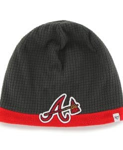 Atlanta Braves Grid Fleece Beanie Charcoal 47 Brand YOUTH Hat