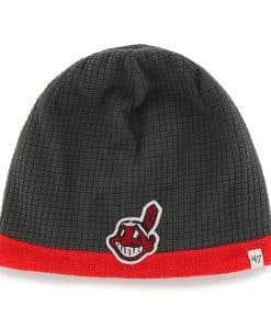 Cleveland Indians Grid Fleece Beanie Charcoal 47 Brand YOUTH Hat