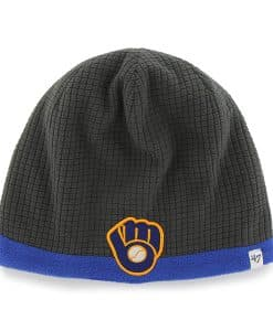 Milwaukee Brewers Grid Fleece Beanie Charcoal 47 Brand YOUTH Hat