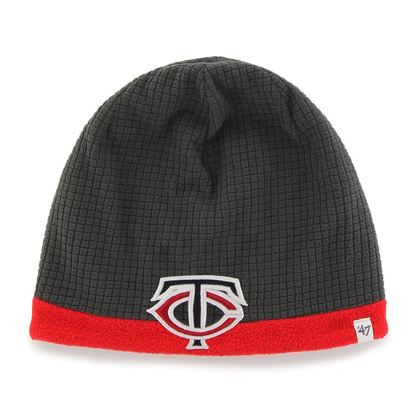 Minnesota Twins Grid Fleece Beanie Charcoal 47 Brand YOUTH Hat
