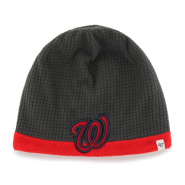 Washington Nationals Grid Fleece Beanie Charcoal 47 Brand YOUTH Hat