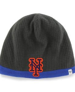 New York Mets Grid Fleece Beanie Charcoal 47 Brand YOUTH Hat