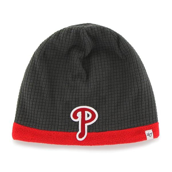 Philadelphia Phillies Grid Fleece Beanie Charcoal 47 Brand YOUTH Hat
