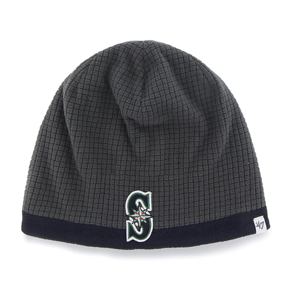 Seattle Mariners Grid Fleece Beanie Charcoal 47 Brand YOUTH Hat